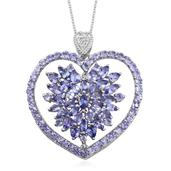 Tanzanite, White Topaz Platinum Over Sterling Silver Heart Pendant With Chain (20 in) TGW 6.11 cts.