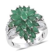 Kagem Zambian Emerald, White Topaz Platinum Over Sterling Silver Ring (Size 9.0) TGW 5.950 cts.