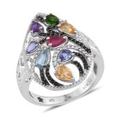 GP Multi Gemstone Platinum Over Sterling Silver Ring (Size 7.0) TGW 2.170 cts.