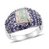 Ethiopian Welo Opal, Tanzanite Platinum Over Sterling Silver Ring (Size 10.0) TGW 4.160 cts.