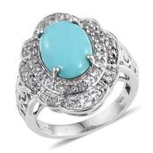 Sonoran Blue Turquoise, White Topaz Platinum Over Sterling Silver Ring (Size 10.0) TGW 5.280 cts.