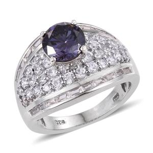 Mega Clearance Strontium Titanate, White Zircon Platinum Over Sterling Silver Ring (Size 6.0) TGW 7.000 cts.
