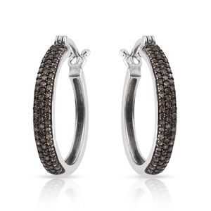 Mega Clearance Certified Champagne Diamond (IR) Platinum Over Sterling Silver Hoop Earrings TDiaWt 0.700Cts., TGW 0.70 Cts.