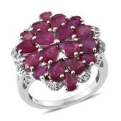 Niassa Ruby, White Topaz Platinum Over Sterling Silver Cluster Split Ring (Size 7.0) TGW 9.20 cts.