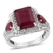 Niassa Ruby, White Topaz Platinum Over Sterling Silver Ring (Size 6.0) TGW 11.350 cts.