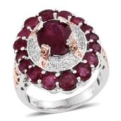 Niassa Ruby, White Topaz 14K RG and Platinum Over Sterling Silver Openwork Ring (Size 6.0) TGW 9.650 cts.