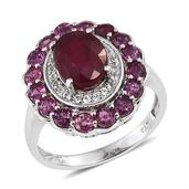Niassa Ruby, Ruby, White Topaz Platinum Over Sterling Silver Ring (Size 8.0) TGW 6.120 cts.