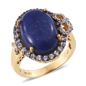 Lapis Lazuli, Tanzanite, White Topaz 14K YG Over Sterling Silver Ring (Size 7.0) TGW 14.50 cts.