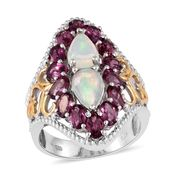 Ethiopian Welo Opal, Orissa Rhodolite Garnet 14K YG and Platinum Over Sterling Silver Ring (Size 7.0) TGW 6.300 cts.