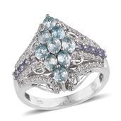 Cambodian Blue Zircon, Tanzanite, White Topaz Platinum Over Sterling Silver Openwork Ring (Size 6.0) TGW 3.040 cts.