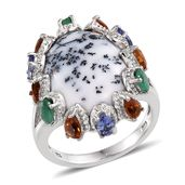Dendritic Agate, Multi Gemstone Platinum Over Sterling Silver Ring (Size 6.0) TGW 16.69 cts.