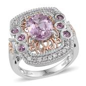 Kunzite, White Zircon, Pink Sapphire 14K RG and Platinum Over Sterling Silver Ring (Size 8.0) TGW 3.920 cts.
