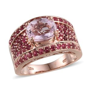 Kunzite, Mahenge Rose Spinel 14K RG Over Sterling Silver Ring (Size 7.0) TGW 4.960 cts.