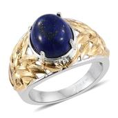 Lapis Lazuli ION Plated YG and Stainless Steel Openwork Ring (Size 6.0) TGW 6.950 cts.