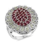 Mahenge Rose Spinel, Tsavorite Garnet, White Topaz Platinum Over Sterling Silver Ring (Size 9.0) TGW 2.82 cts.