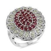 Mahenge Spinel, Tsavorite Garnet, White Topaz Platinum Over Sterling Silver Ring (Size 9.0) TGW 2.816 cts.