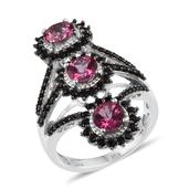 Pure Pink Mystic Topaz, Thai Black Spinel Platinum Over Sterling Silver Ring (Size 8.0) TGW 4.500 cts.