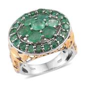 Kagem Zambian Emerald 14K YG and Platinum Over Sterling Silver Ring (Size 9.0) TGW 4.05 cts.