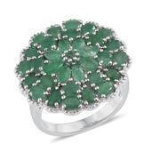Kagem Zambian Emerald Platinum Over Sterling Silver Ring (Size 9.0) TGW 5.44 cts.