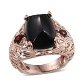 Royal Jaipur Thai Black Spinel, Mozambique Garnet, Ruby 14K RG Over Sterling Silver Ring (Size 6.0) TGW 13.750 cts.