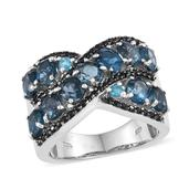 London Blue Topaz, Thai Black Spinel, Malgache Neon Apatite Platinum Over Sterling Silver Ring (Size 6.0) TGW 5.910 cts.