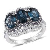 London Blue Topaz, Bekily Color Change Garnet, White Topaz Platinum Over Sterling Silver Ring (Size 7.0) TGW 6.240 cts.