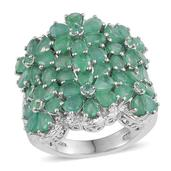 Kagem Zambian Emerald Platinum Over Sterling Silver Ring (Size 6.0) TGW 6.480 cts.