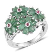 Kagem Zambian Emerald, Mahenge Pink Spinel Platinum Over Sterling Silver Ring (Size 5.0) TGW 3.680 cts.