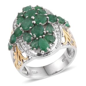 Kagem Zambian Emerald, White Zircon 14K YG and Platinum Over Sterling Silver Ring (Size 6.0) TGW 4.100 cts.