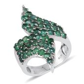 Kagem Zambian Emerald Platinum Over Sterling Silver Elongated Bypass Ring (Size 6.0) TGW 3.38 cts.