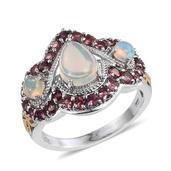 Ethiopian Welo Opal, Pink Tourmaline 14K YG and Platinum Over Sterling Silver Ring (Size 10.0) TGW 2.930 cts.