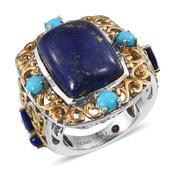 Royal Jaipur Lapis Lazuli, Arizona Sleeping Beauty Turquoise, Ruby 14K YG and Platinum Over Sterling Silver Openwork Ring (Size 8.0) TGW 17.470 cts.