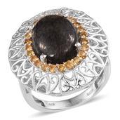 Black Feldspar, Brazilian Citrine Platinum Over Sterling Silver Openwork Statement Ring (Size 6.0) TGW 8.40 cts.