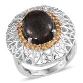 Black Feldspar, Brazilian Citrine Platinum Over Sterling Silver Openwork Statement Ring (Size 7.0) TGW 8.40 cts.
