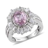 Kunzite, White Zircon Platinum Over Sterling Silver Ring (Size 7.0) TGW 5.21 cts.
