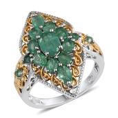 Kagem Zambian Emerald, White Topaz 14K YG and Platinum Over Sterling Silver Ring (Size 7.0) TGW 2.710 cts.