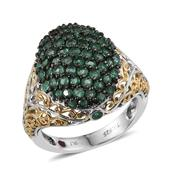 Royal Jaipur Kagem Zambian Emerald, Ruby 14K YG and Platinum Over Sterling Silver Openwork Cluster Ring (Size 7.0) TGW 2.730 cts.