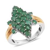 Kagem Zambian Emerald 14K YG and Platinum Over Sterling Silver Ring (Size 6.0) TGW 2.570 cts.