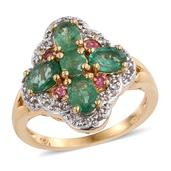 Kagem Zambian Emerald, White Topaz, Mahenge Pink Spinel 14K YG Over Sterling Silver Ring (Size 7.0) TGW 2.540 cts.