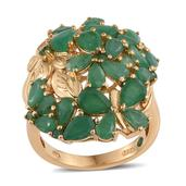 Kagem Zambian Emerald 14K YG Over Sterling Silver Ring (Size 6.0) TGW 5.900 cts.