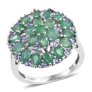 Kagem Zambian Emerald, Tanzanite, Diamond Platinum Over Sterling Silver Cluster Ring (Size 7.0) TGW 3.60 cts.