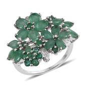 Kagem Zambian Emerald Platinum Over Sterling Silver Ring (Size 7.0) TGW 5.900 cts.