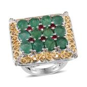 Kagem Zambian Emerald, Mahenge Spinel, White Topaz 14K YG and Platinum Over Sterling Silver Openwork Statement Ring (Size 8.0) TGW 8.750 cts.