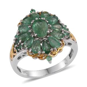 Kagem Zambian Emerald, White Topaz 14K YG and Platinum Over Sterling Silver Ring (Size 9.0) TGW 3.69 cts.