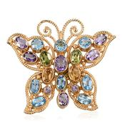 SUGAR by Gay Isber Multi Gemstone 14K YG Over Sterling Silver Butterfly Brooch or Pendant without Chain TGW 11.320 cts.