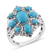 Arizona Sleeping Beauty Turquoise, Tanzanite 14K YG and Platinum Over Sterling Silver Ring (Size 8.0) TGW 4.755 cts.