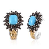 Arizona Sleeping Beauty Turquoise, Brazilian Smoky Quartz 14K YG and Platinum Over Sterling Silver J-Hoop Earrings TGW 12.850 cts.