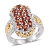Sunset Red Sapphire, White Zircon 14K YG and Platinum Over Sterling Silver Ring (Size 8.0) TGW 2.950 cts.