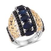 Kanchanaburi Blue Sapphire, Thai Black Spinel 14K YG and Platinum Over Sterling Silver Ring (Size 7.0) TGW 8.590 cts.