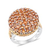 Orange Sapphire 14K YG and Platinum Over Sterling Silver Bulk Cluster Ring (Size 7.0) TGW 7.10 cts.